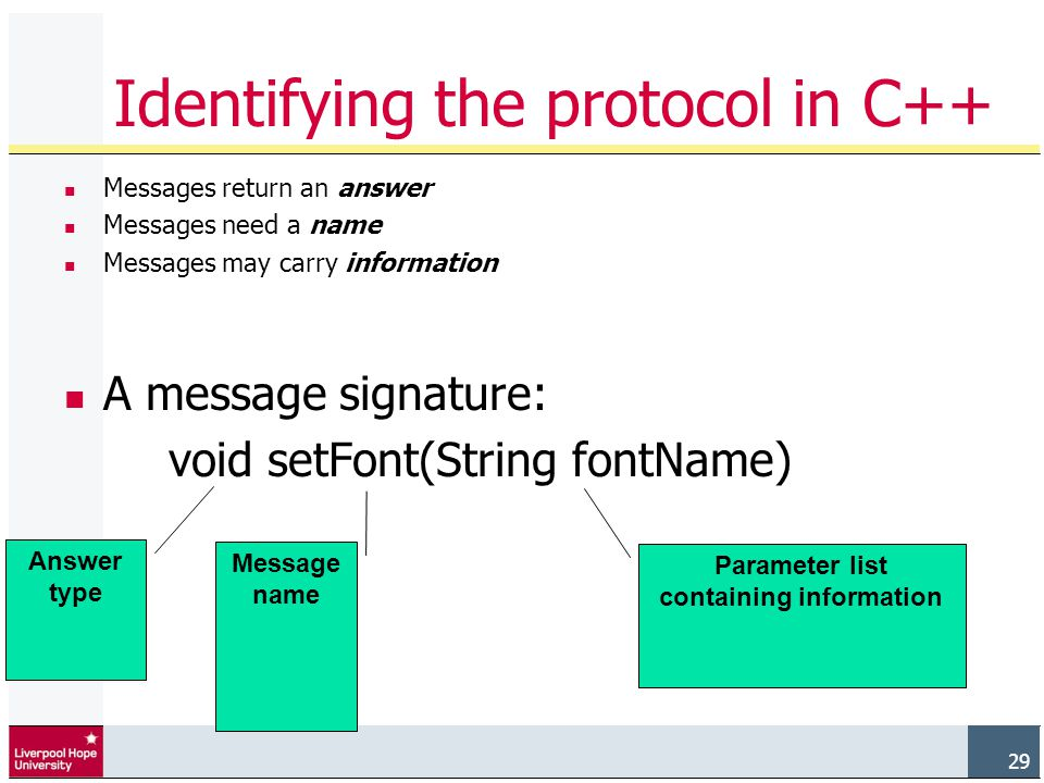 29 Messages return an answer Messages need a name Messages may carry information A message signature: void setFont(String fontName) Answer type Message name Parameter list containing information Identifying the protocol in C++