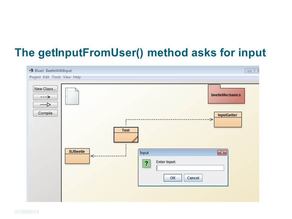 The getInputFromUser() method asks for input 01/09/2014