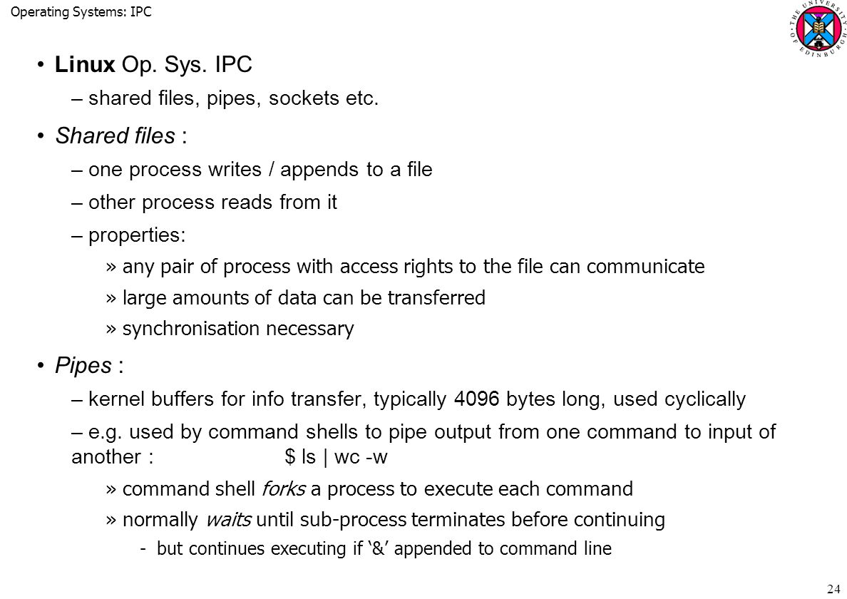 Operating Systems: IPC 24 Linux Op. Sys. IPC –shared files, pipes, sockets etc.