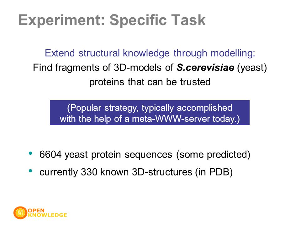 Extend structural knowledge through modelling: Find fragments of 3D-models of S.cerevisiae (yeast) proteins that can be trusted 6604 yeast protein sequences (some predicted) currently 330 known 3D-structures (in PDB) Experiment: Specific Task (Popular strategy, typically accomplished with the help of a meta-WWW-server today.)
