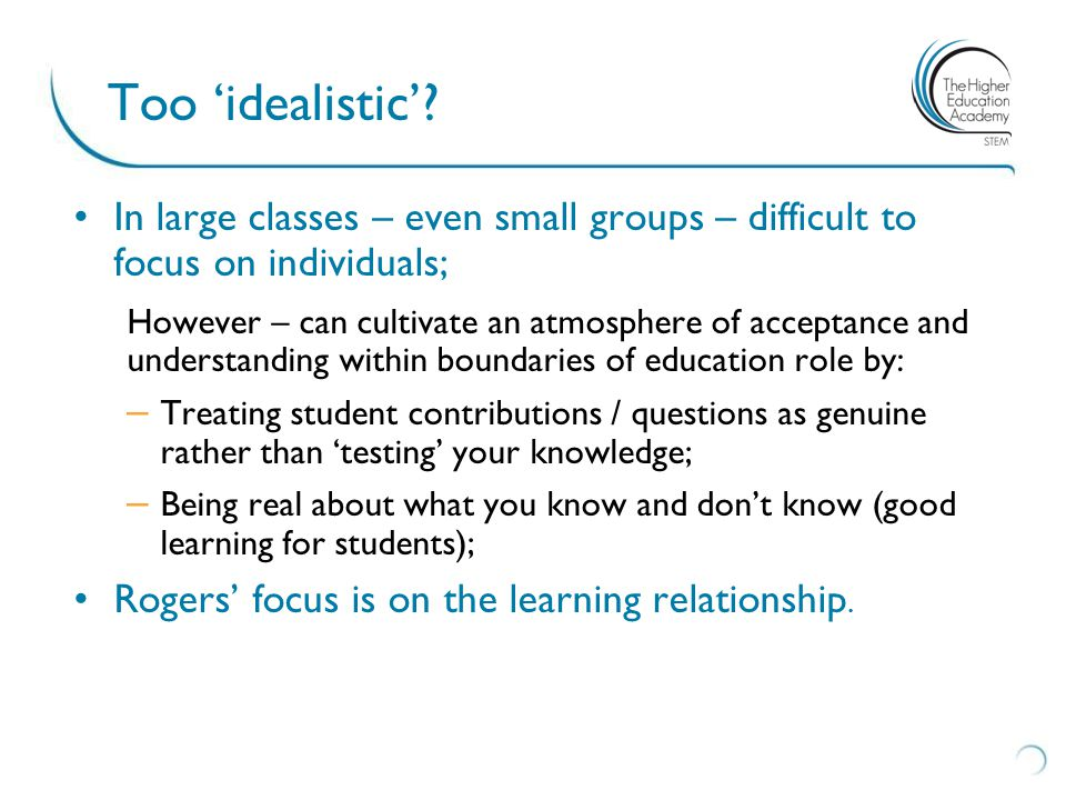 Too 'idealistic'.