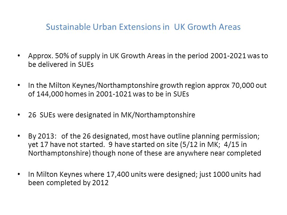 Sustainable Urban Extensions in UK Growth Areas Approx.