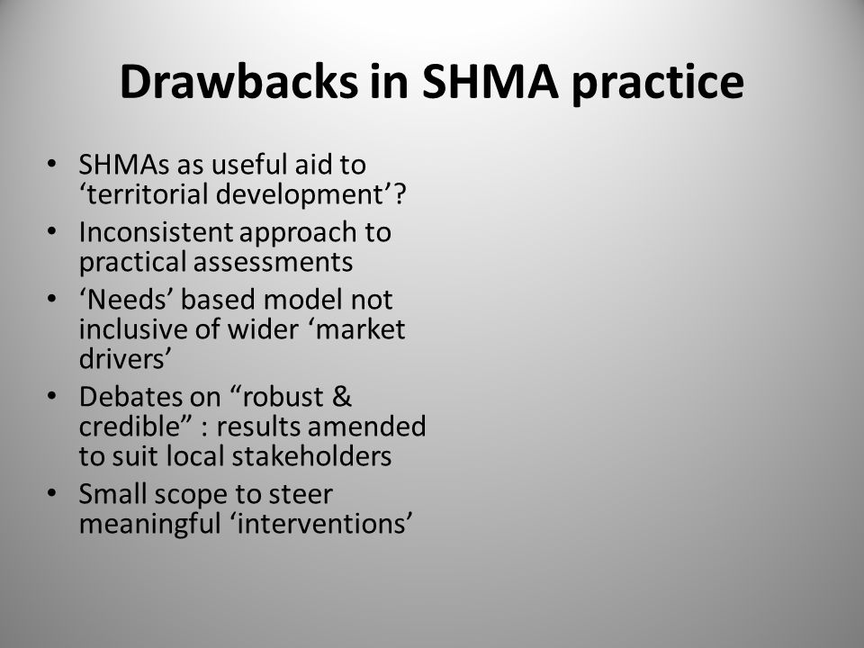 Drawbacks in SHMA practice SHMAs as useful aid to 'territorial development'.