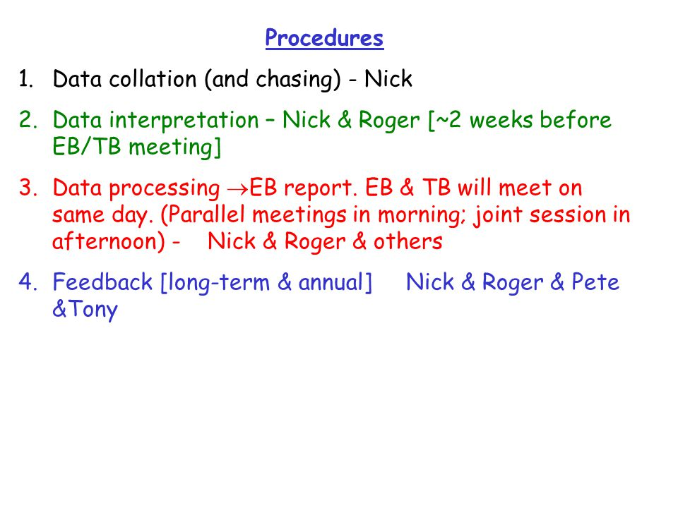 Procedures 1.Data collation (and chasing) - Nick 2.Data interpretation – Nick & Roger [~2 weeks before EB/TB meeting] 3.Data processing  EB report.