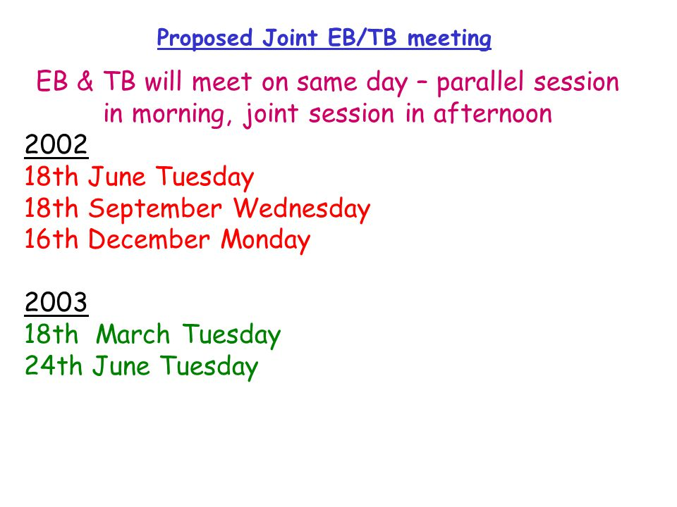 Proposed Joint EB/TB meeting EB & TB will meet on same day – parallel session in morning, joint session in afternoon 2002 18th June Tuesday 18th September Wednesday 16th December Monday 2003 18th March Tuesday 24th June Tuesday