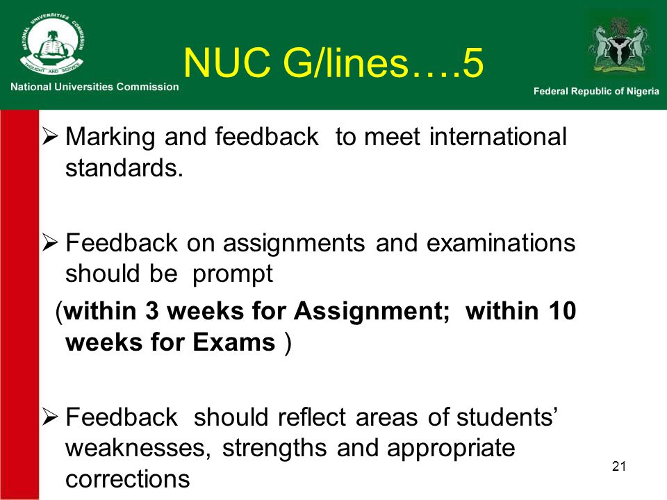 NUC G/lines….5  Marking and feedback to meet international standards.