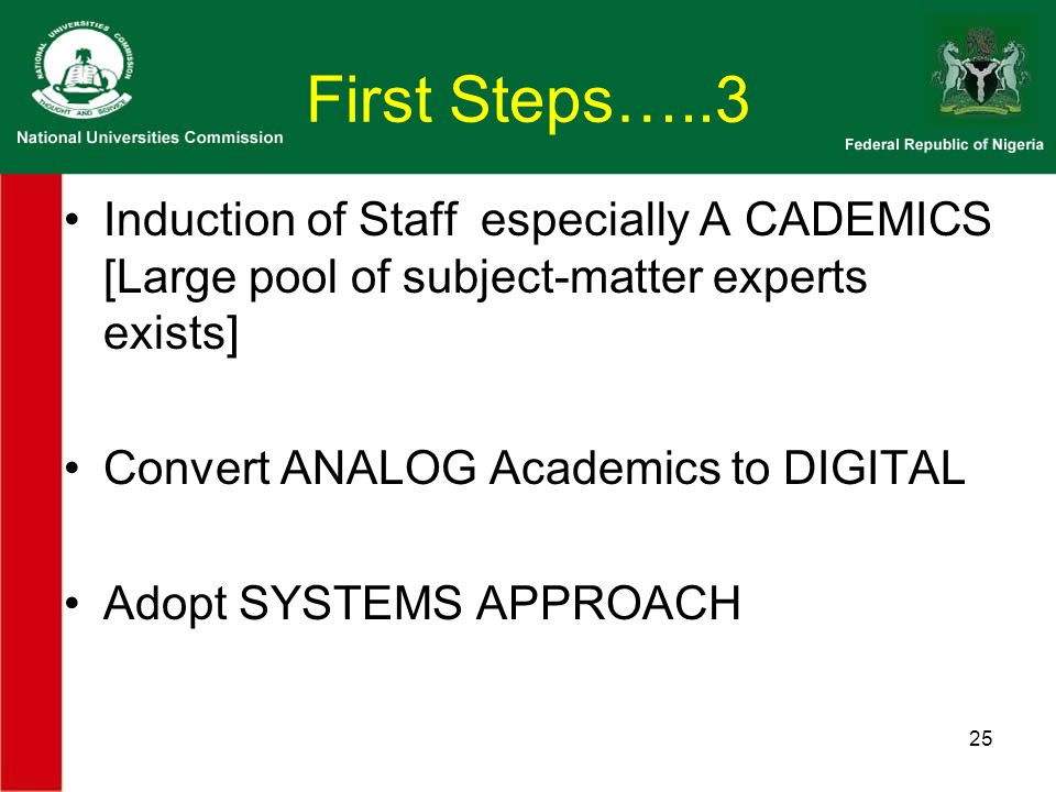 First Steps…..3 Induction of Staff especially A CADEMICS [Large pool of subject-matter experts exists] Convert ANALOG Academics to DIGITAL Adopt SYSTEMS APPROACH 25