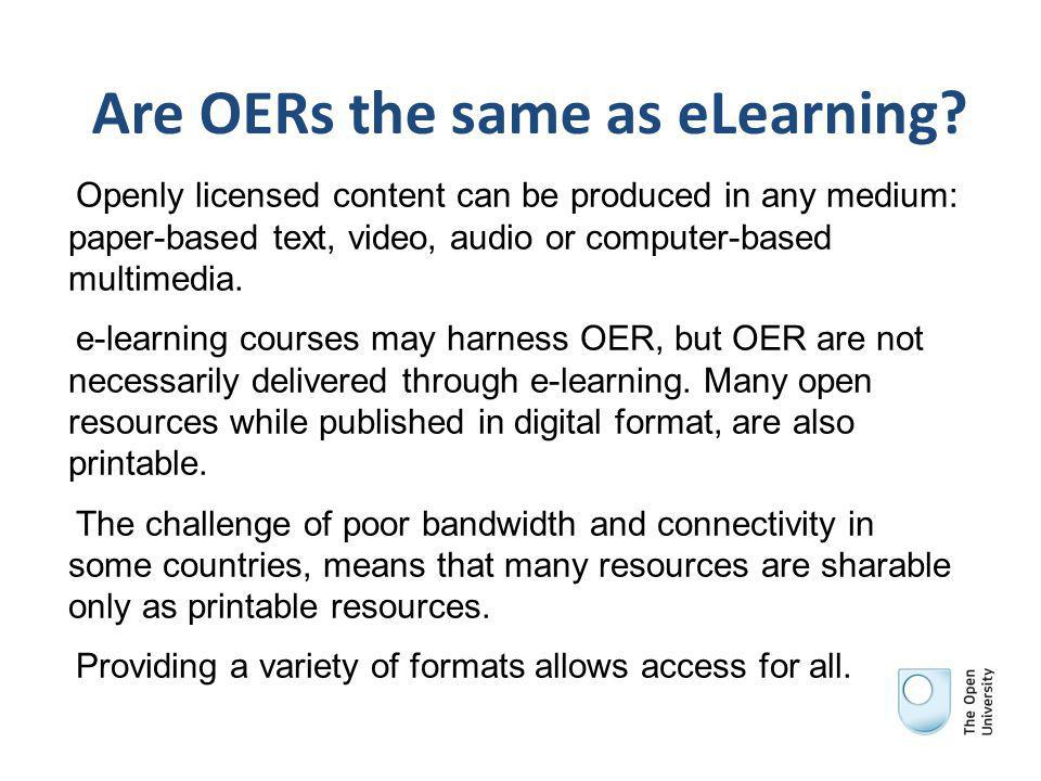 Are OERs the same as eLearning.