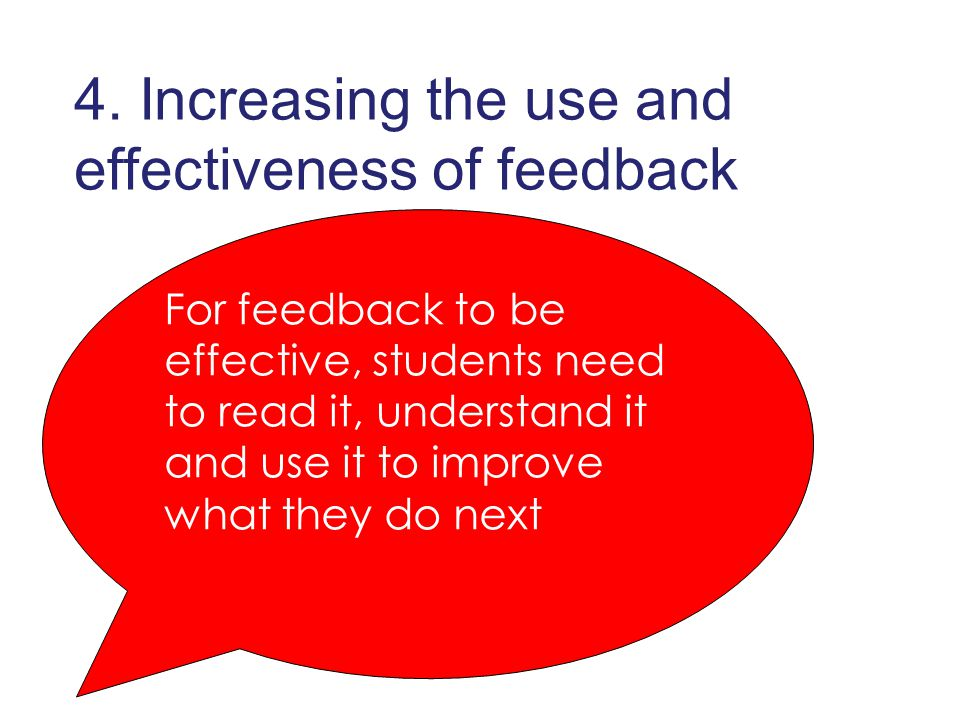 For feedback to be effective, students need to read it, understand it and use it to improve what they do next 4.