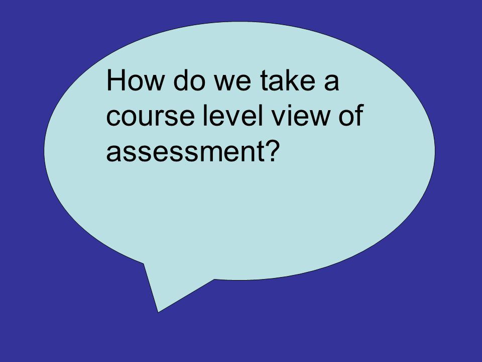 How do we take a course level view of assessment