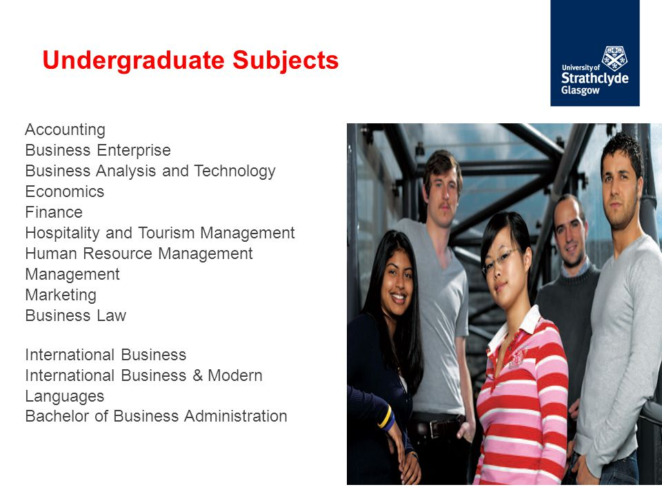 Undergraduate Subjects Accounting Business Enterprise Business Analysis and Technology Economics Finance Hospitality and Tourism Management Human Resource Management Management Marketing Business Law International Business International Business & Modern Languages Bachelor of Business Administration