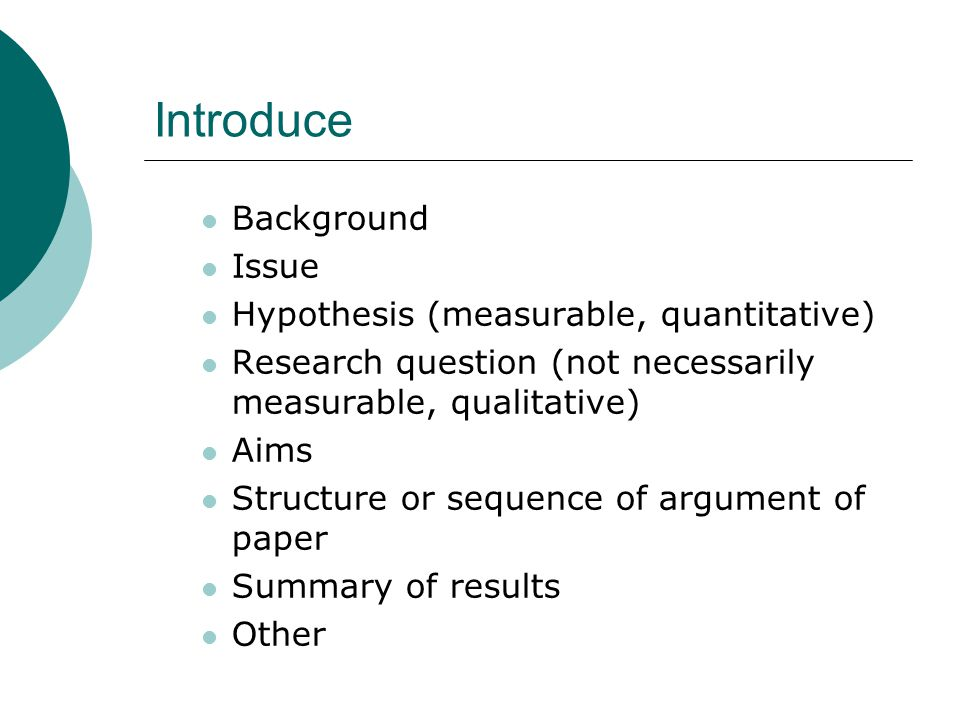 Introduce Background Issue Hypothesis (measurable, quantitative) Research question (not necessarily measurable, qualitative) Aims Structure or sequence of argument of paper Summary of results Other