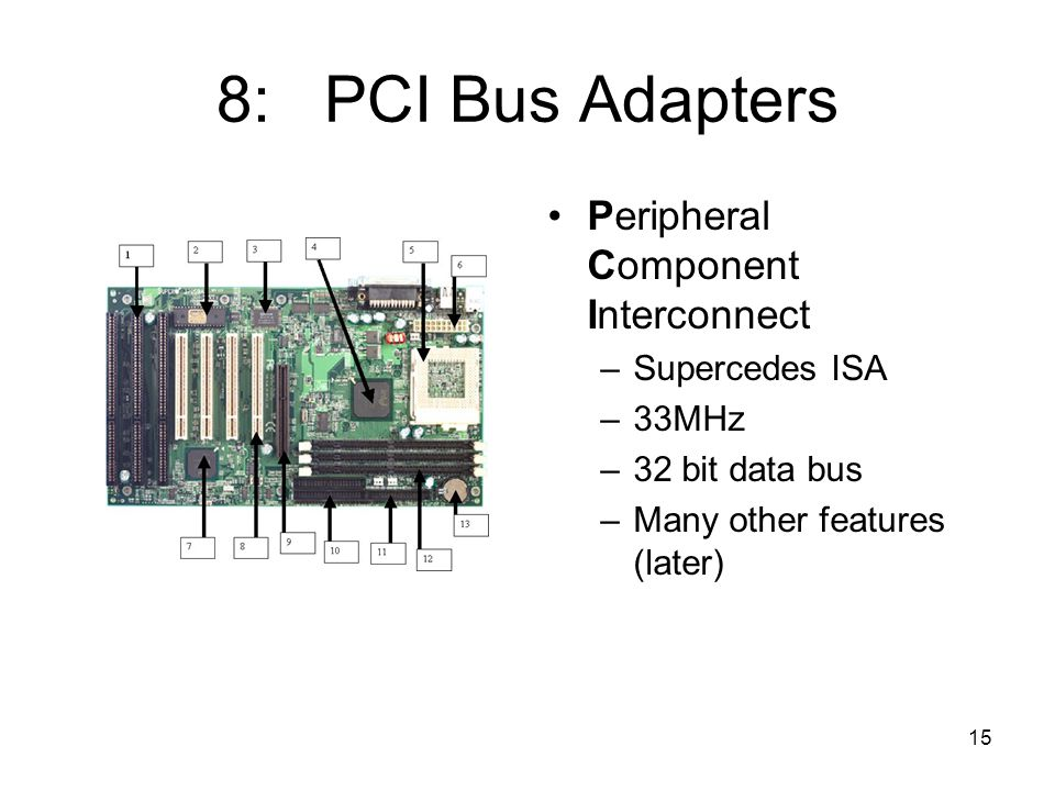 15 8: PCI Bus Adapters Peripheral Component Interconnect –Supercedes ISA –33MHz –32 bit data bus –Many other features (later)
