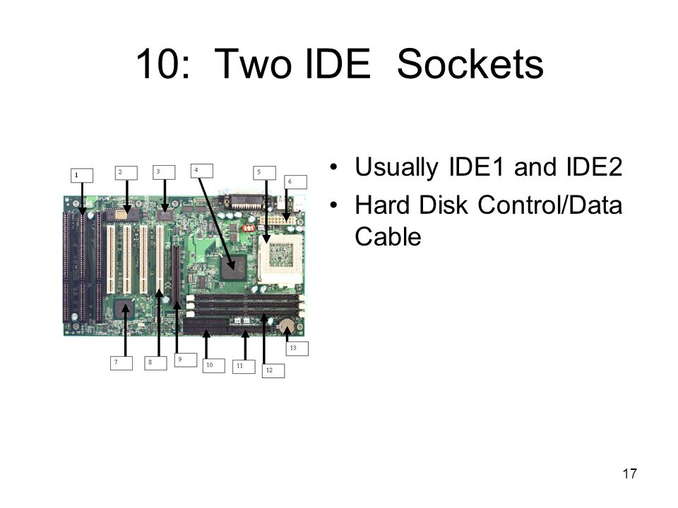 17 10: Two IDE Sockets Usually IDE1 and IDE2 Hard Disk Control/Data Cable