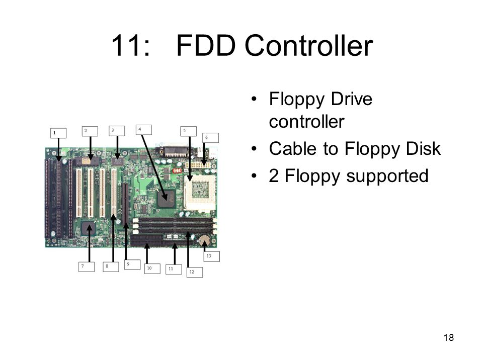 18 11: FDD Controller Floppy Drive controller Cable to Floppy Disk 2 Floppy supported