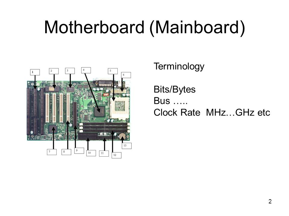 2 Motherboard (Mainboard) Terminology Bits/Bytes Bus ….. Clock Rate MHz…GHz etc