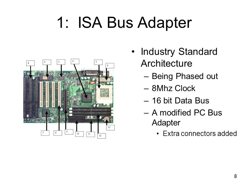 8 1: ISA Bus Adapter Industry Standard Architecture –Being Phased out –8Mhz Clock –16 bit Data Bus –A modified PC Bus Adapter Extra connectors added