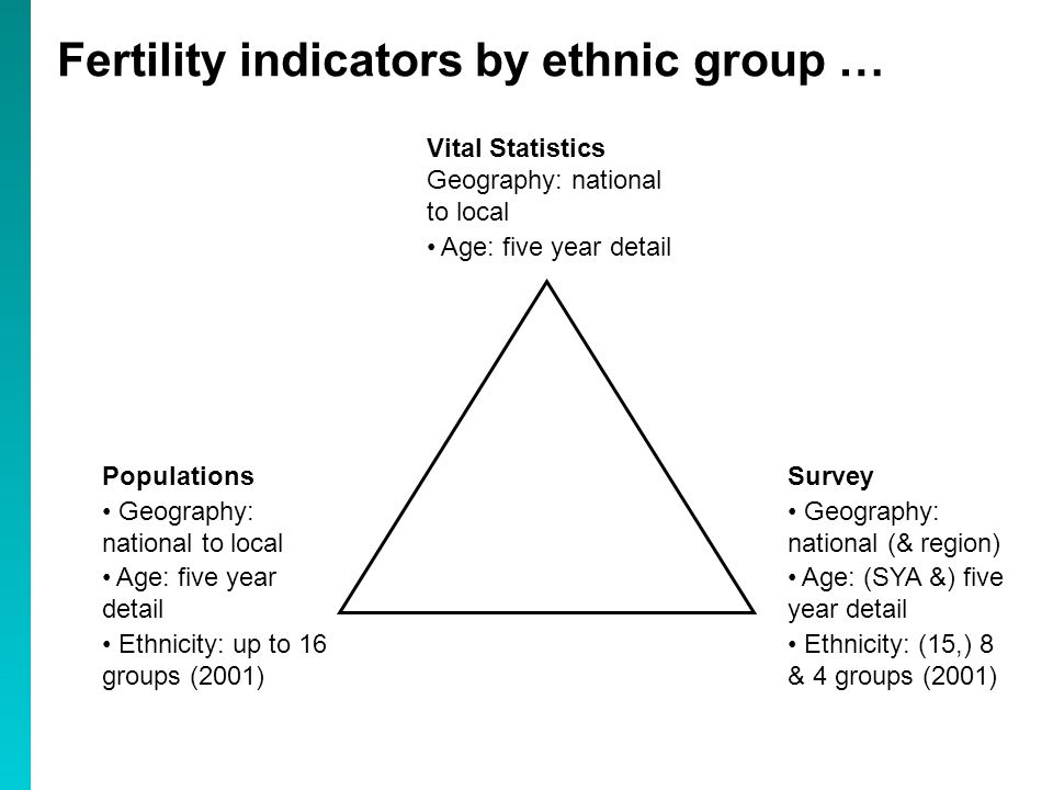 Fertility indicators by ethnic group … Vital Statistics Geography: national to local Age: five year detail Survey Geography: national (& region) Age: (SYA &) five year detail Ethnicity: (15,) 8 & 4 groups (2001) Populations Geography: national to local Age: five year detail Ethnicity: up to 16 groups (2001)