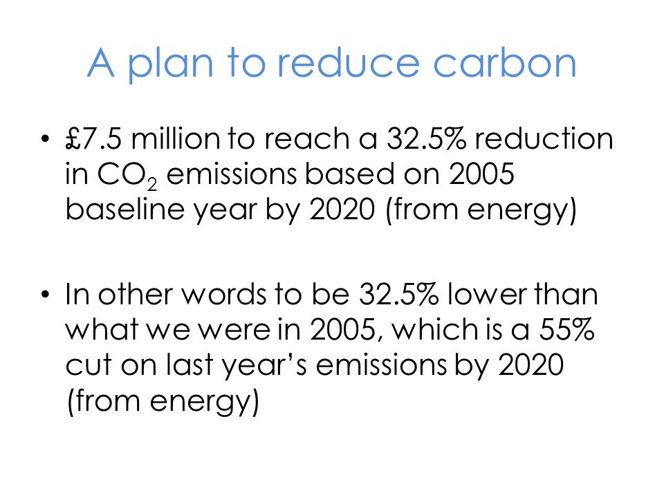 A plan to reduce carbon £7.5 million to reach a 32.5% reduction in CO 2 emissions based on 2005 baseline year by 2020 (from energy) In other words to be 32.5% lower than what we were in 2005, which is a 55% cut on last year's emissions by 2020 (from energy)