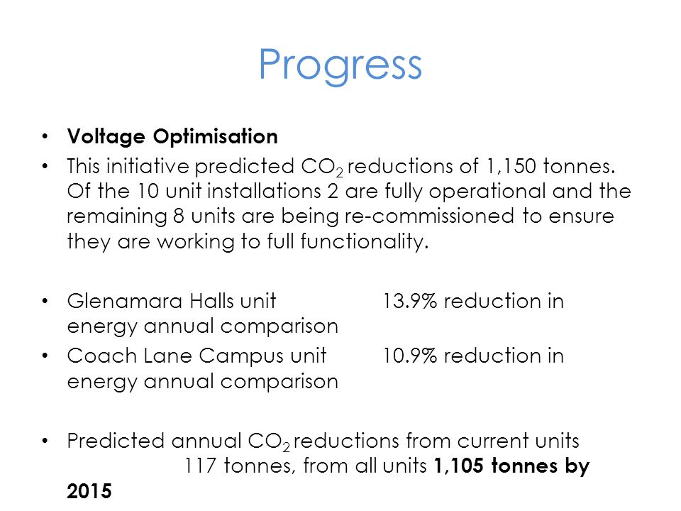 Progress Voltage Optimisation This initiative predicted CO 2 reductions of 1,150 tonnes.