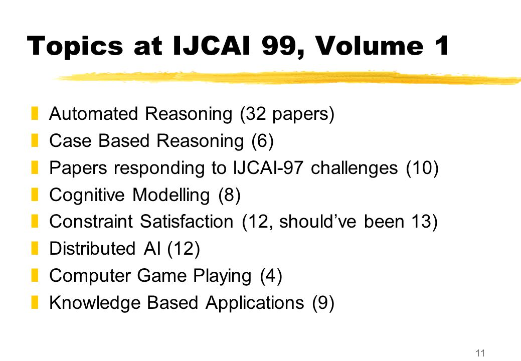 11 Topics at IJCAI 99, Volume 1 zAutomated Reasoning (32 papers) zCase Based Reasoning (6) zPapers responding to IJCAI-97 challenges (10) zCognitive Modelling (8) zConstraint Satisfaction (12, should've been 13) zDistributed AI (12) zComputer Game Playing (4) zKnowledge Based Applications (9)