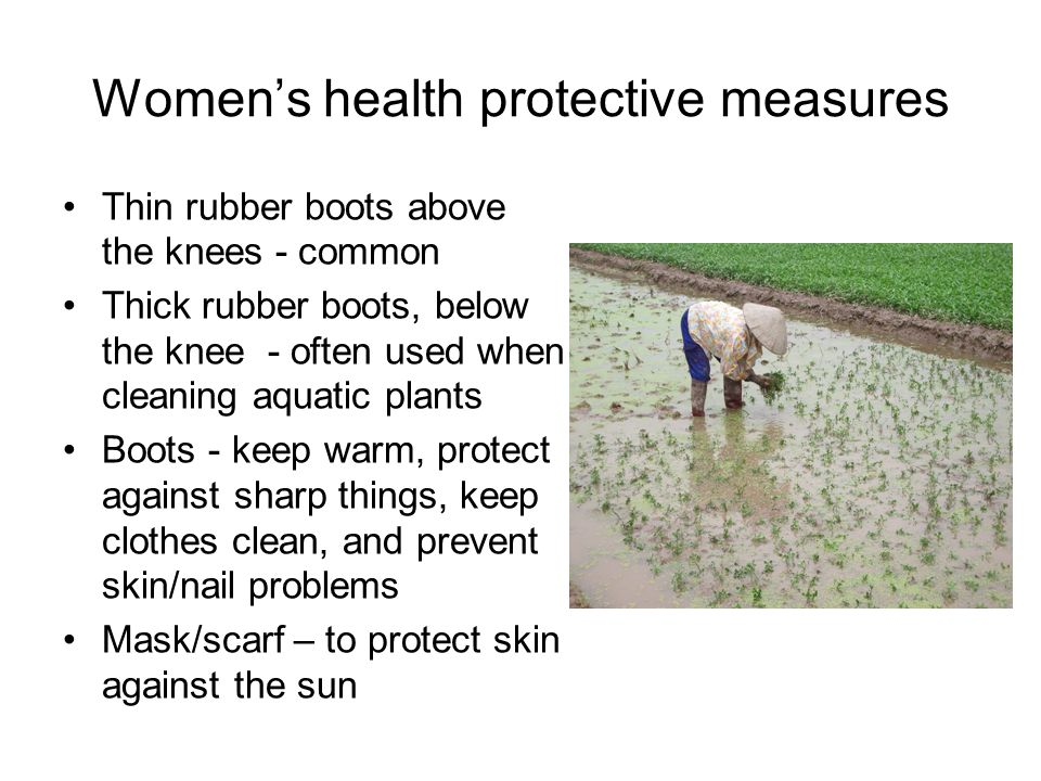 Women's health protective measures Thin rubber boots above the knees - common Thick rubber boots, below the knee - often used when cleaning aquatic plants Boots - keep warm, protect against sharp things, keep clothes clean, and prevent skin/nail problems Mask/scarf – to protect skin against the sun