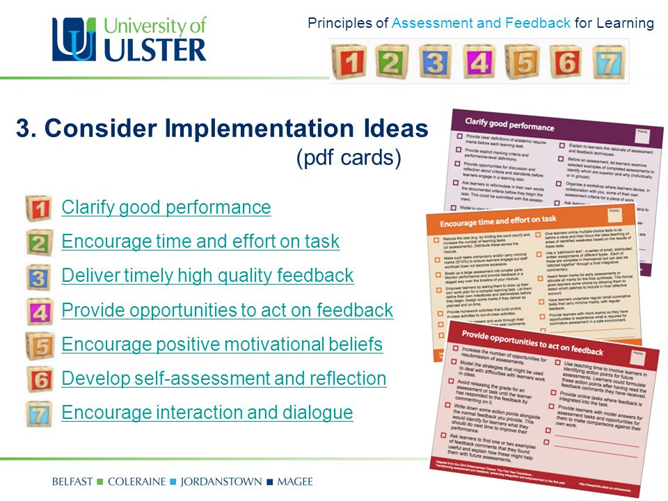 Principles of Assessment and Feedback for Learning 3.