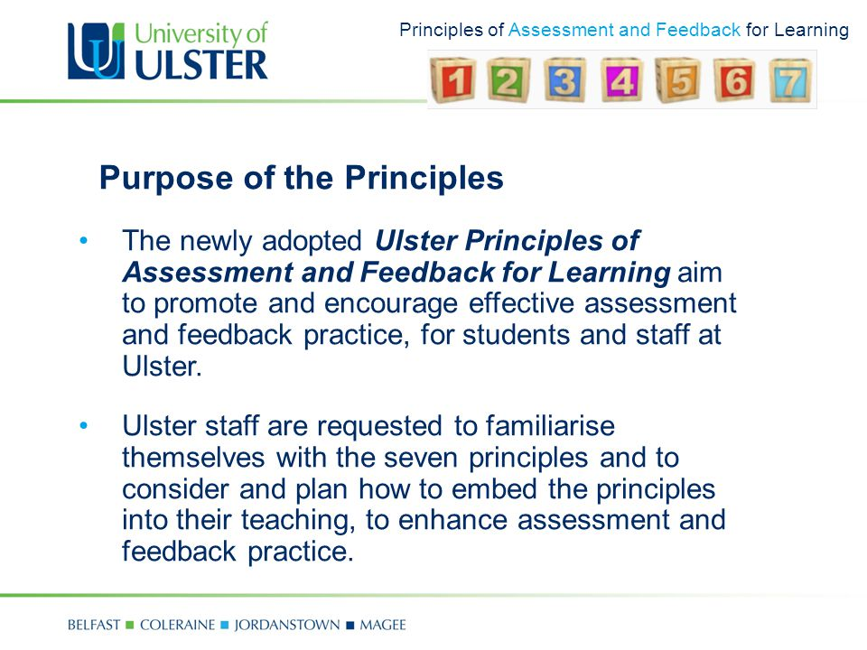 Principles of Assessment and Feedback for Learning Purpose of the Principles The newly adopted Ulster Principles of Assessment and Feedback for Learning aim to promote and encourage effective assessment and feedback practice, for students and staff at Ulster.