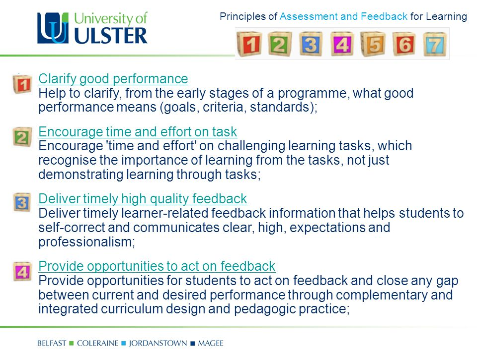 Principles of Assessment and Feedback for Learning 1.Clarify good performance Help to clarify, from the early stages of a programme, what good performance means (goals, criteria, standards);Clarify good performance 2.Encourage time and effort on task Encourage time and effort on challenging learning tasks, which recognise the importance of learning from the tasks, not just demonstrating learning through tasks;Encourage time and effort on task 3.Deliver timely high quality feedback Deliver timely learner-related feedback information that helps students to self-correct and communicates clear, high, expectations and professionalism;Deliver timely high quality feedback 4.Provide opportunities to act on feedback Provide opportunities for students to act on feedback and close any gap between current and desired performance through complementary and integrated curriculum design and pedagogic practice;Provide opportunities to act on feedback