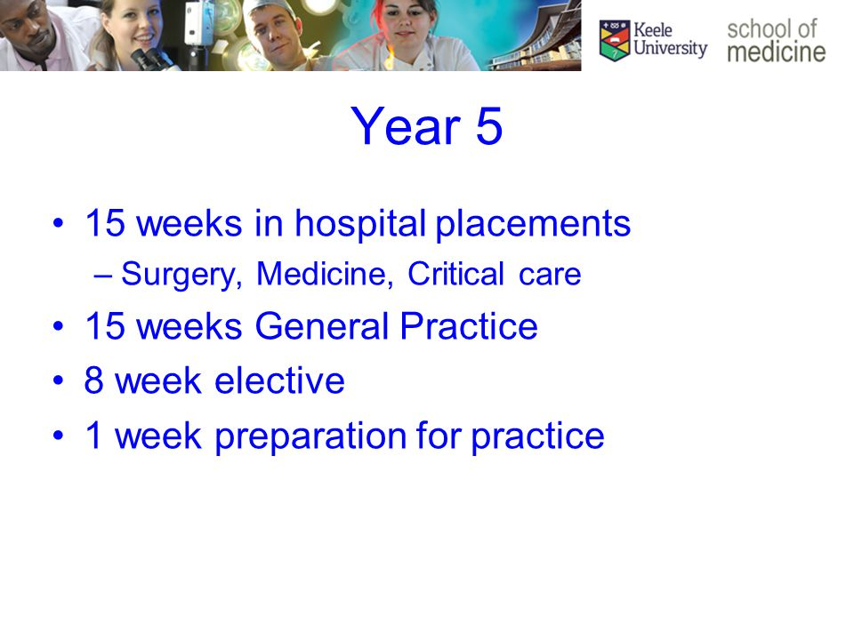 Year 5 15 weeks in hospital placements –Surgery, Medicine, Critical care 15 weeks General Practice 8 week elective 1 week preparation for practice