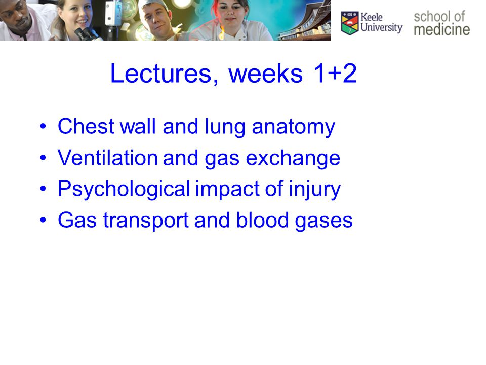 Lectures, weeks 1+2 Chest wall and lung anatomy Ventilation and gas exchange Psychological impact of injury Gas transport and blood gases