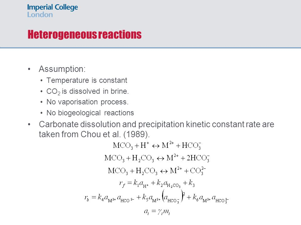 Heterogeneous reactions Assumption: Temperature is constant CO 2 is dissolved in brine.