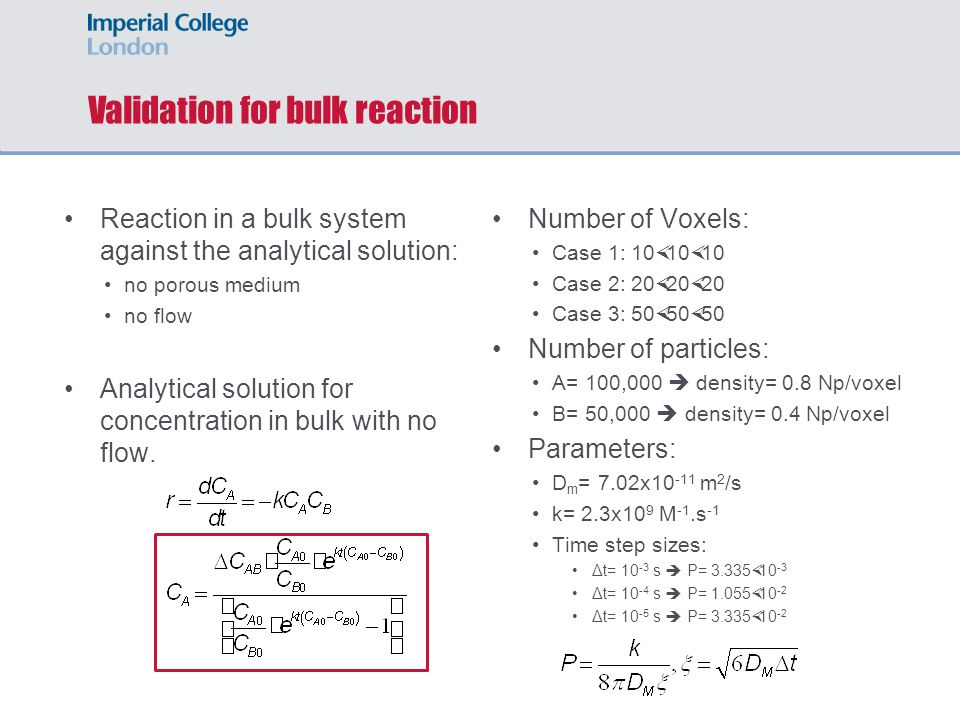 Validation for bulk reaction Reaction in a bulk system against the analytical solution: no porous medium no flow Analytical solution for concentration in bulk with no flow.