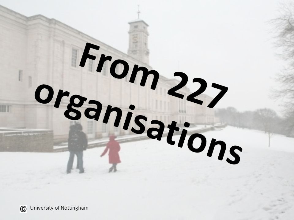 From 227 organisations University of Nottingham