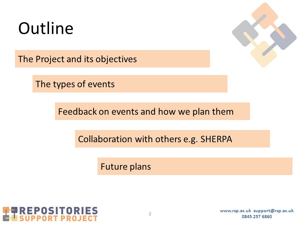 www.rsp.ac.uk support@rsp.ac.uk 0845 257 6860 22 Outline The Project and its objectives The types of events Feedback on events and how we plan them Collaboration with others e.g.