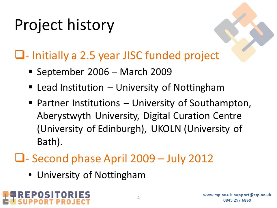 www.rsp.ac.uk support@rsp.ac.uk 0845 257 6860 44 Project history  - Initially a 2.5 year JISC funded project  September 2006 – March 2009  Lead Institution – University of Nottingham  Partner Institutions – University of Southampton, Aberystwyth University, Digital Curation Centre (University of Edinburgh), UKOLN (University of Bath).