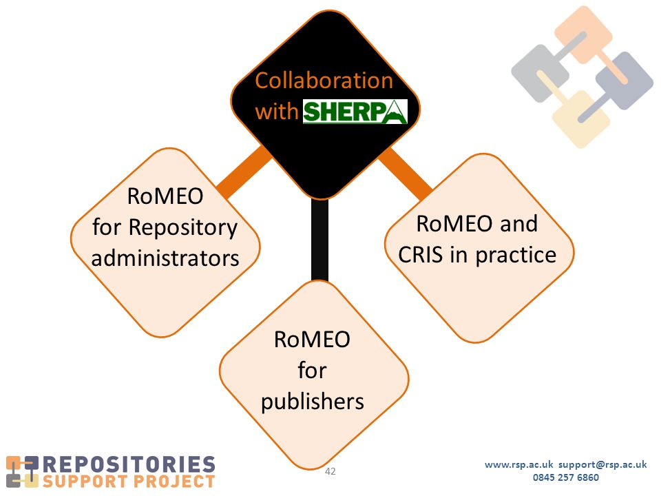 www.rsp.ac.uk support@rsp.ac.uk 0845 257 6860 42 Collaboration with RoMEO for Repository administrators RoMEO and CRIS in practice RoMEO for publishers