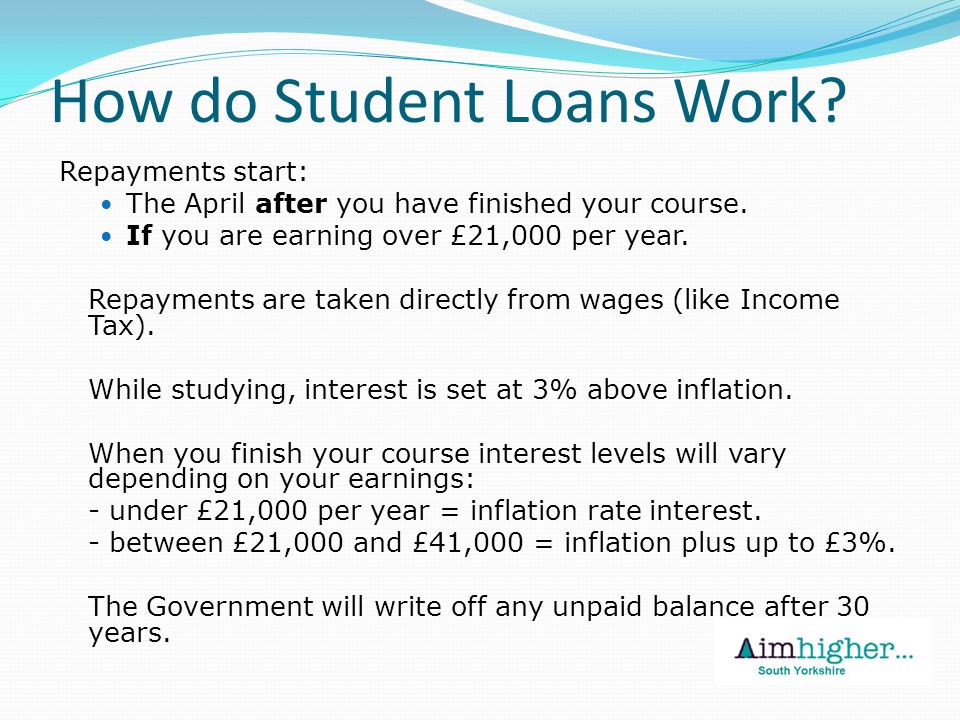 How do Student Loans Work. Repayments start: The April after you have finished your course.