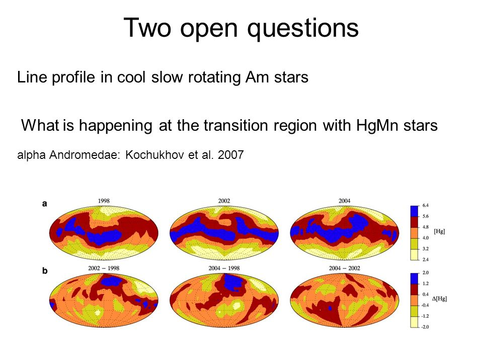 Two open questions What is happening at the transition region with HgMn stars alpha Andromedae: Kochukhov et al.