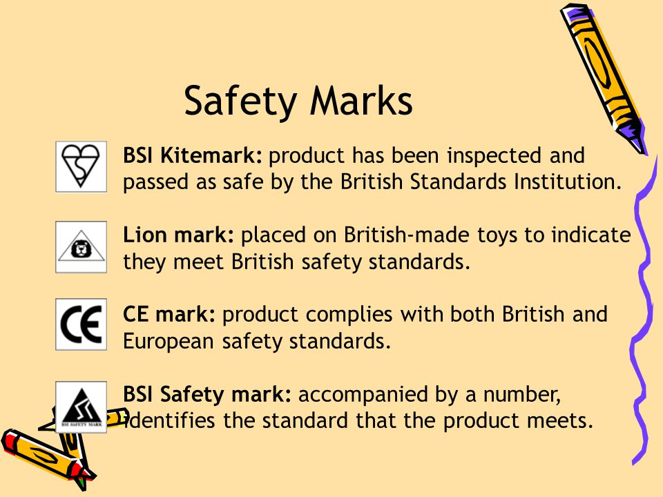 Safety Marks BSI Kitemark: product has been inspected and passed as safe by the British Standards Institution.