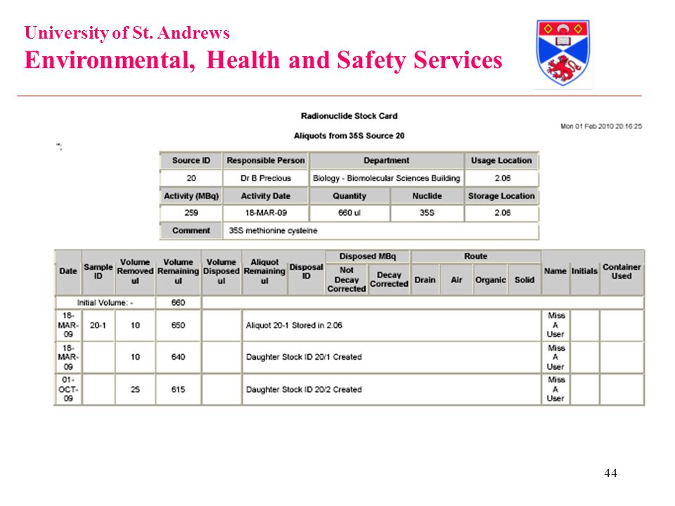 University of St. Andrews Environmental, Health and Safety Services 44