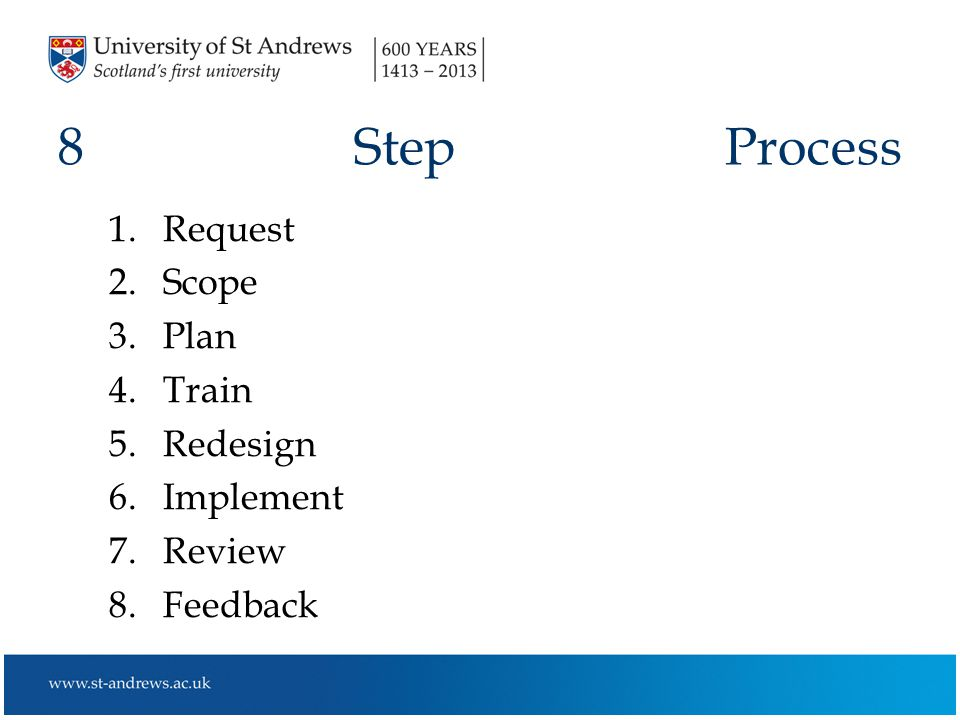 8 Step Process 1.Request 2.Scope 3.Plan 4.Train 5.Redesign 6.Implement 7.Review 8.Feedback