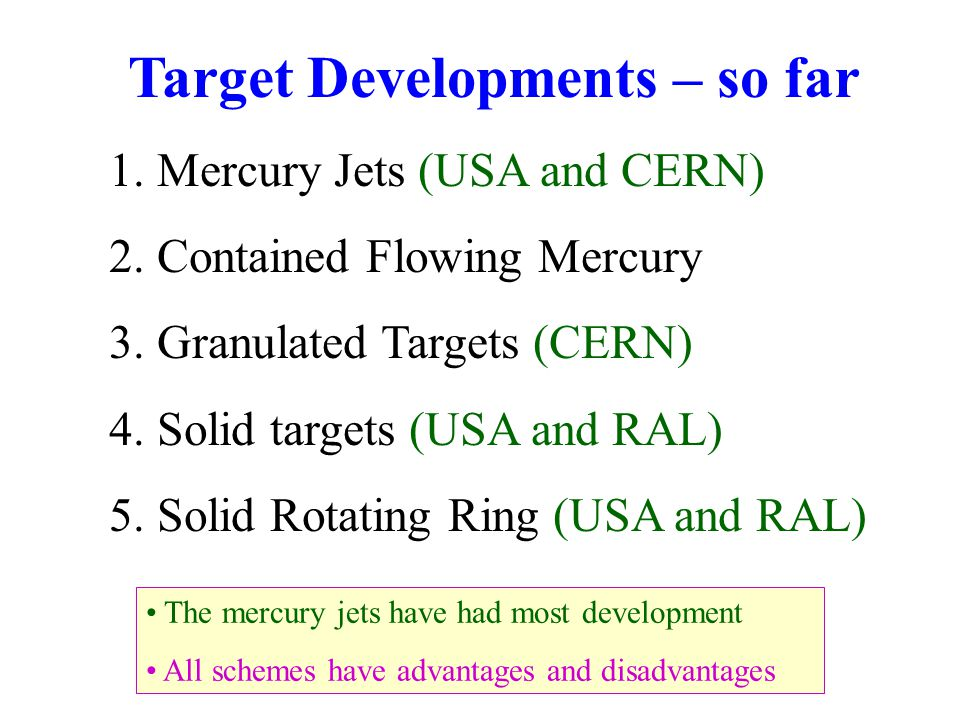 Target Developments – so far 1. Mercury Jets (USA and CERN) 2.