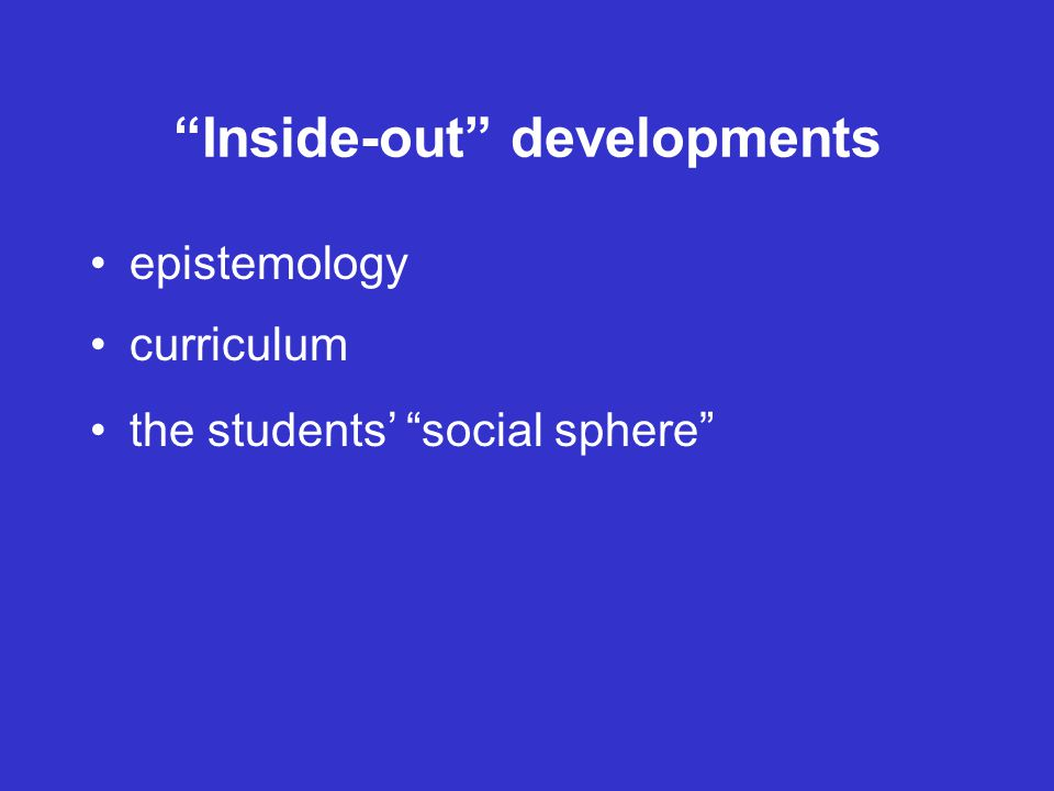 Inside-out developments epistemology curriculum the students' social sphere