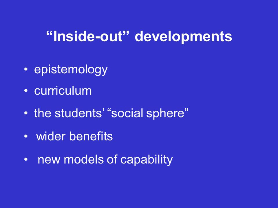 Inside-out developments epistemology curriculum the students' social sphere wider benefits new models of capability