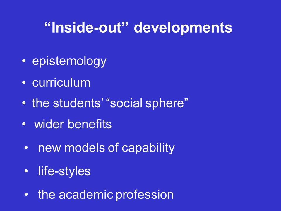 Inside-out developments epistemology curriculum the students' social sphere wider benefits new models of capability life-styles the academic profession