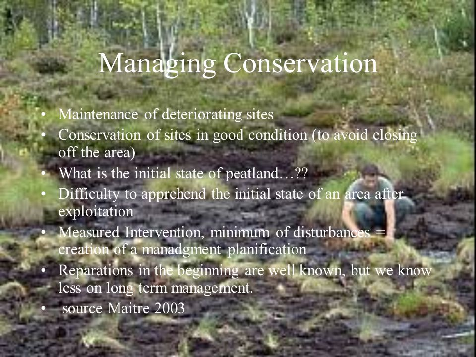 Managing Conservation Maintenance of deteriorating sites Conservation of sites in good condition (to avoid closing off the area) What is the initial state of peatland… .