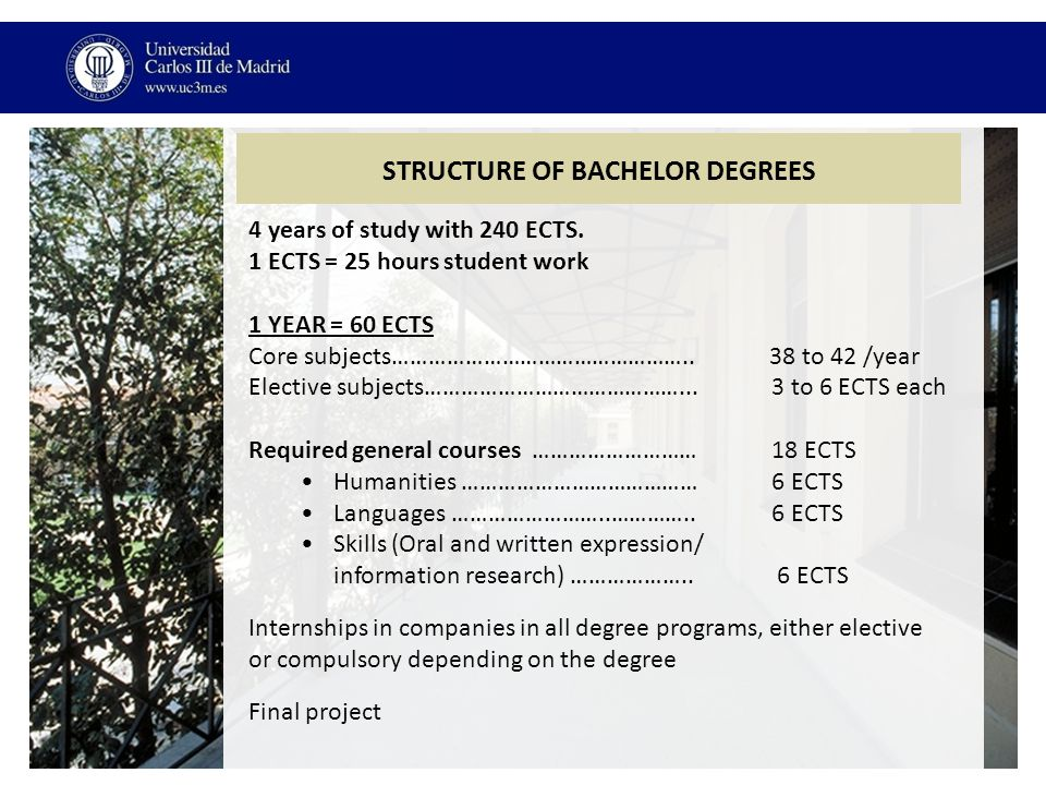 STRUCTURE OF BACHELOR DEGREES 4 years of study with 240 ECTS.