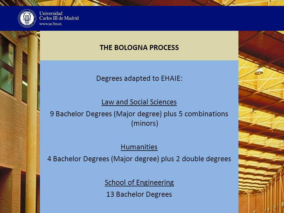 THE BOLOGNA PROCESS Degrees adapted to EHAIE: Law and Social Sciences 9 Bachelor Degrees (Major degree) plus 5 combinations (minors) Humanities 4 Bachelor Degrees (Major degree) plus 2 double degrees School of Engineering 13 Bachelor Degrees