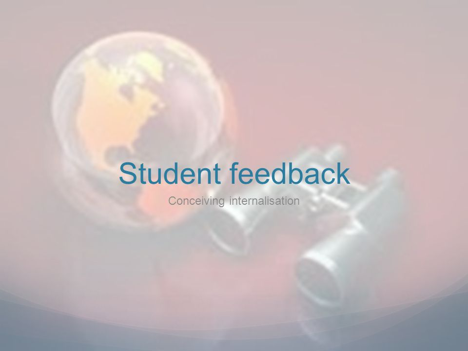 Student feedback Conceiving internalisation